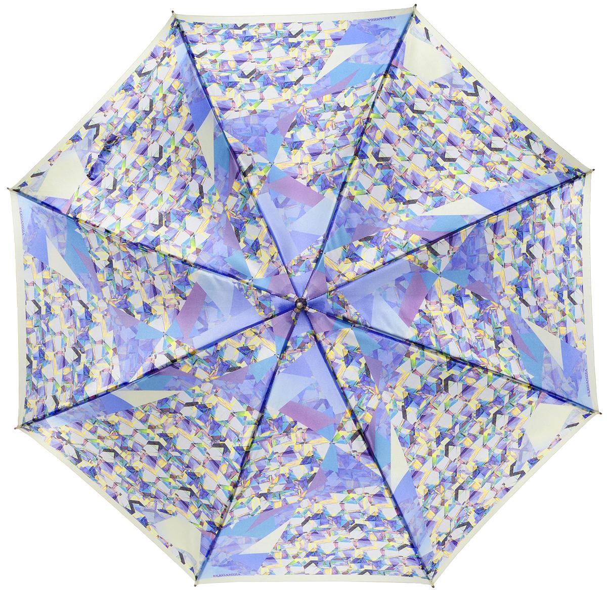 Зонт-трость женский Eleganzza, полуавтомат, 3 сложения, цвет: фиолетовый. T-06-0300T-06-0300Элегантный женский зонт-трость Eleganzza не оставит вас незамеченной. Изделие оформлено оригинальным принтом в виде геометрического рисунка. Зонт состоит из восьми спиц и стержня, изготовленных из стали и фибергласса. Купол выполнен из качественного полиэстера и сатина, которые не пропускают воду. Зонт дополнен удобной ручкой из акрила, которая имеет форму крючка. Также зонт имеет заостренный наконечник, который устраняет попадание воды на стержень и уберегает зонт от повреждений. Изделие имеет полуавтоматический механизм сложения: купол открывается нажатием кнопки на ручке, а складывается вручную до характерного щелчка. Оригинальный и практичный аксессуар даже в ненастную погоду позволит вам оставаться женственной и привлекательной.