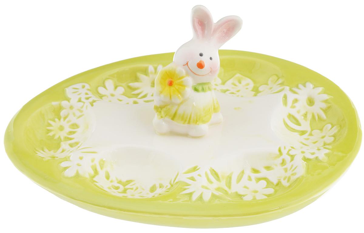 Тарелка для фаршированных яиц Patricia Кролик, 21 х 16 смIM16-0303Тарелка для фаршированных яиц Patricia Кролик, изготовленная из высококачественной керамики, украсит ваш праздничный или обеденной стол. Она дополнена оригинальной фигуркой кролика. На изделии имеются специальные углубления для 6 яиц. Такая тарелка украсит сервировку вашего стола и подчеркнет прекрасный вкус хозяйки.