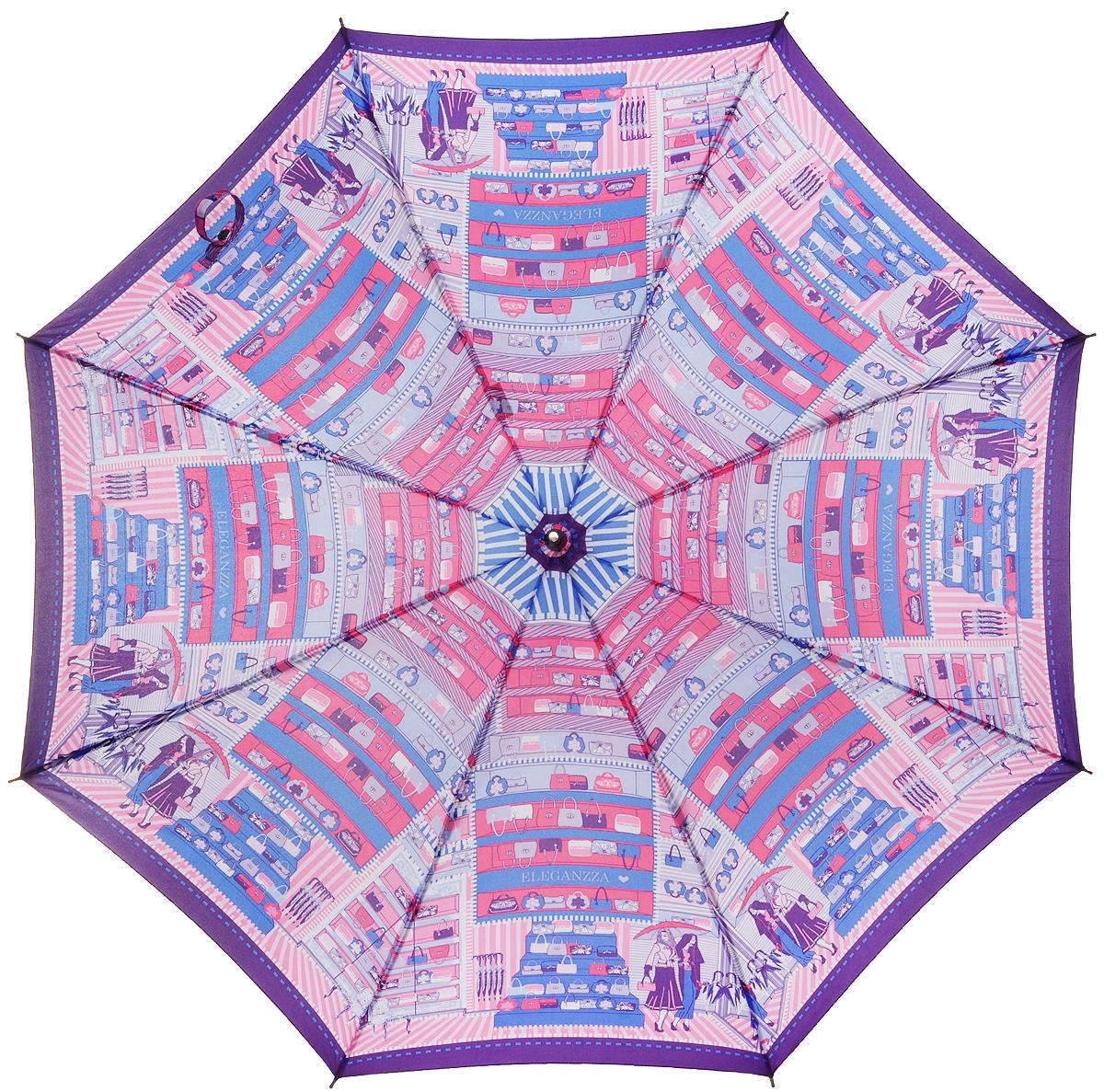 Зонт-трость женский Eleganzza, полуавтомат, 3 сложения, цвет: фиолетовый, голубой, розовый. T-05-0225T-05-0225Элегантный женский зонт-трость Eleganzza не оставит вас незамеченной. Изделие оформлено оригинальным принтом. Зонт состоит из восьми спиц изготовленных из фибергласса и стержня из стали. Купол выполнен из качественного полиэстера и эпонжа, которые не пропускают воду. Зонт дополнен удобной ручкой из матового пластика, которая имеет форму крючка. Также зонт имеет заостренный наконечник, который устраняет попадание воды на стержень и уберегает зонт от повреждений. Зонт оснащен удобным ремешком, благодаря которому зонт можно носить на плече. Изделие имеет полуавтоматический механизм сложения: купол открывается нажатием кнопки на ручке, а складывается вручную до характерного щелчка. Оригинальный и практичный аксессуар даже в ненастную погоду позволит вам оставаться женственной и привлекательной.