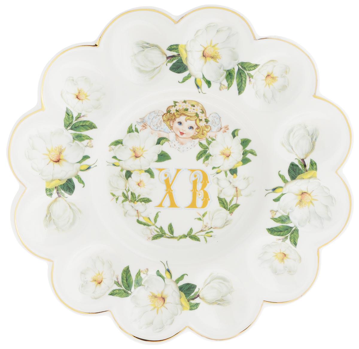 Тарелка для фаршированных яиц Elan Gallery ХВ. Белый шиповник, диаметр 24 см740250Тарелка для фаршированных яиц Elan Gallery ХВ. Белый шиповник, изготовленная из высококачественной керамики, украсит ваш праздничный стол. На изделии имеются специальные углубления для 12 яиц. Тарелка оформлена цветочным рисунком. Такая тарелка украсит сервировку вашего стола и подчеркнет прекрасный вкус хозяйки. Не рекомендуется применять абразивные моющие средства. Не использовать в микроволновой печи.