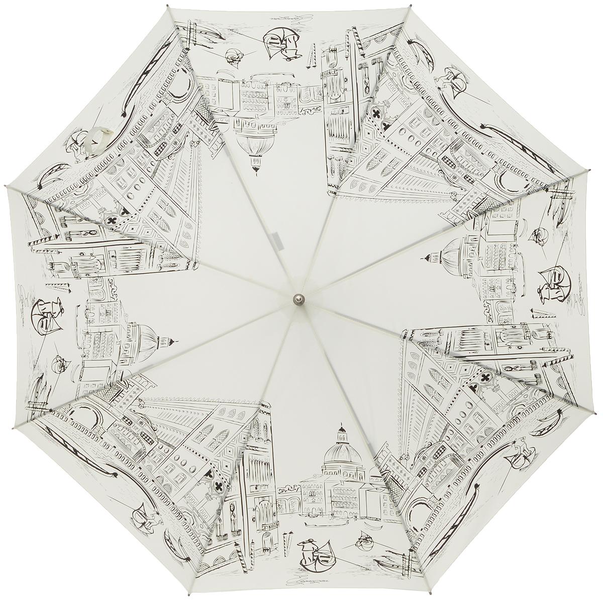 Зонт-трость женский Eleganzza, полуавтомат, 3 сложения, цвет: молочный, черный. T-05-0200T-05-0200Элегантный женский зонт-трость Eleganzza не оставит вас незамеченной. Изделие оформлено оригинальным принтом. Зонт состоит из восьми спиц изготовленных из фибергласса и стержня из стали. Купол выполнен из качественного полиэстера и эпонжа, которые не пропускают воду. Зонт дополнен удобной ручкой из матового пластика, которая имеет форму крючка. Также зонт имеет заостренный наконечник, который устраняет попадание воды на стержень и уберегает зонт от повреждений. Зонт оснащен чехлом и удобным ремешком, благодаря которому зонт можно носить на плече. Изделие имеет полуавтоматический механизм сложения: купол открывается нажатием кнопки на ручке, а складывается вручную до характерного щелчка. Оригинальный и практичный аксессуар даже в ненастную погоду позволит вам оставаться женственной и привлекательной.