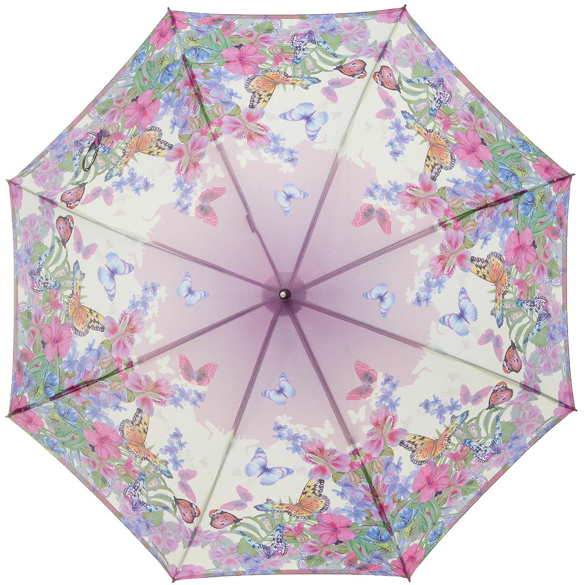 Зонт-трость женский Eleganzza, полуавтомат, 3 сложения, цвет: розовый. T-06-0299T-06-0299Элегантный женский зонт-трость Eleganzza не оставит вас незамеченной. Изделие оформлено оригинальным принтом в виде цветов и бабочек. Зонт состоит из восьми спиц и стержня, изготовленных из стали и фибергласса. Купол выполнен из качественного полиэстера и эпонж, которые не пропускают воду. Зонт дополнен удобной ручкой из акрила, которая имеет форму крючка. Также зонт имеет заостренный наконечник, который устраняет попадание воды на стержень и уберегает зонт от повреждений. Изделие имеет полуавтоматический механизм сложения: купол открывается нажатием кнопки на ручке, а складывается вручную до характерного щелчка. Оригинальный и практичный аксессуар даже в ненастную погоду позволит вам оставаться женственной и привлекательной.