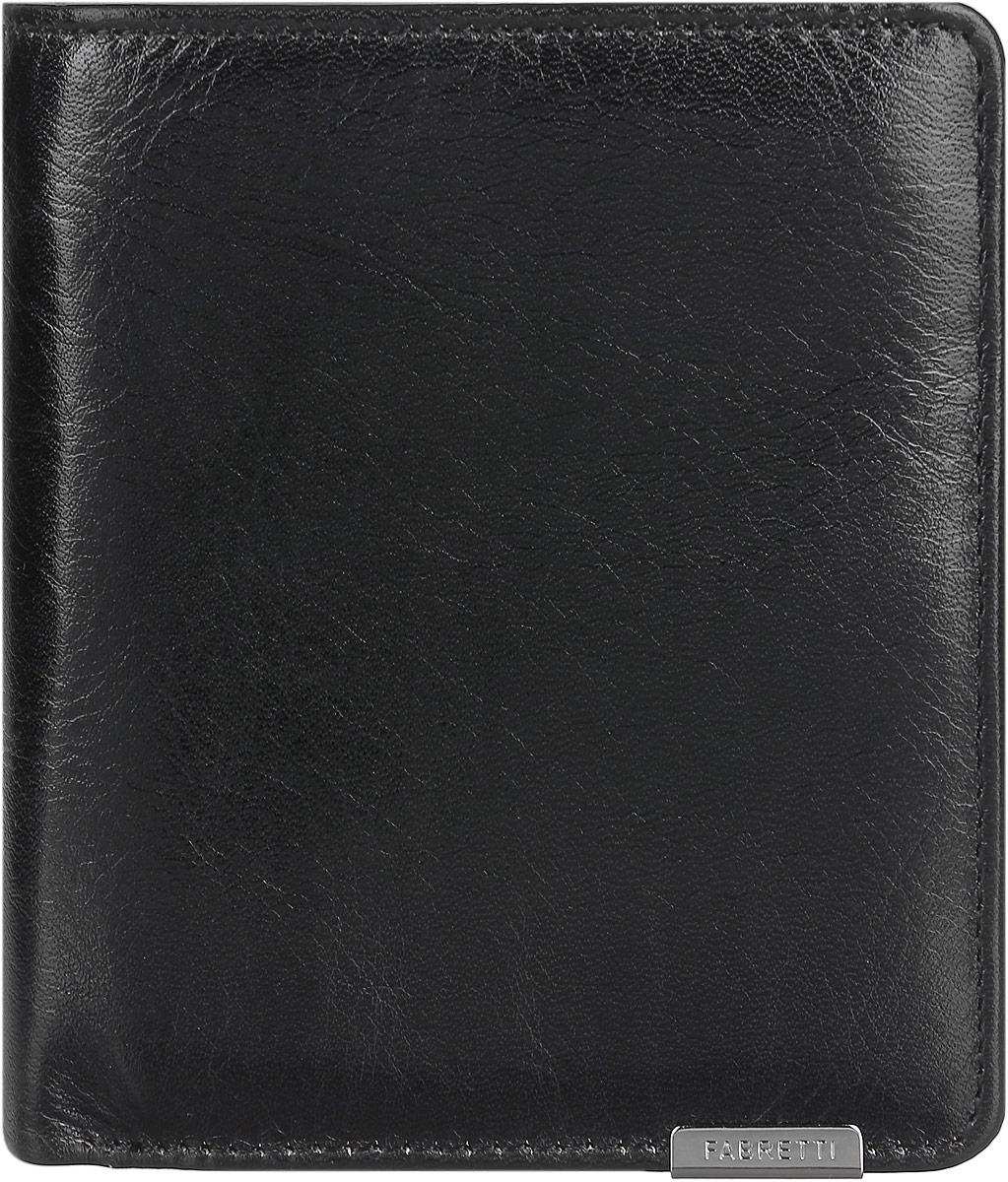 Кошелек мужской Fabretti, цвет: черный. FA009-blackFA009-blackКлассический мужской кошелек от Fabretti выполнен из натуральной гладкой кожи. Внутри находятся три отделения для купюр, одно из которых на молнии. Так же в кошельке расположены шесть карманов для визиток и карт и один карман с пластиковым окошком. На тыльной стороне кошелька расположен карман для мелочи, объем которого можно регулировать с помощью кнопки. Изделие закрывается на кнопку. Кошелек упакован в плотную коробку с логотипом фирмы. Такой роскошный и практичный аксессуар станет замечательным подарком человеку, ценящему качественные и модные вещи.