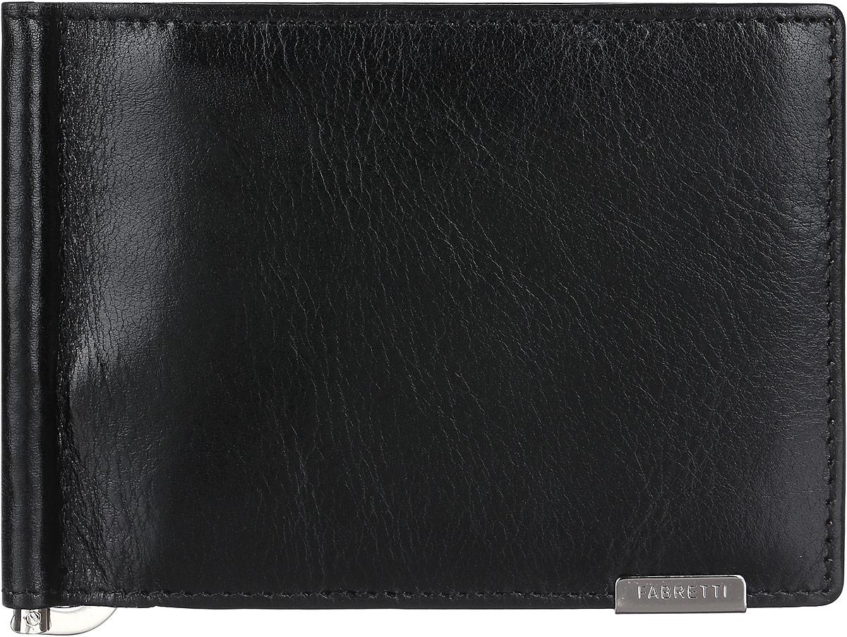 Зажим для купюр мужской Fabretti, цвет: черный. 32006-black32006-blackСтильный и практичный мужской зажим для купюр от Fabretti выполнен из натуральной гладкой кожи и дополнен одним объемным карманом для мелочи, который закрывается клапаном на кнопку. Изделие состоит из шести карманов для визиток и карт, двух скрытых карманов. Зажим упакован в фирменную коробку с логотипом бренда. Такой аксессуар станет неотъемлемой частью вашего образа благодаря своей практичности.