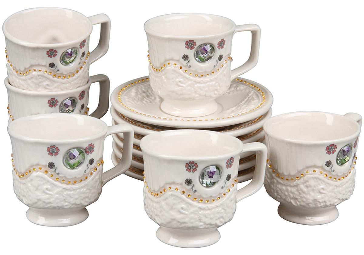 Чайный набор Rosenberg, 12 предметов. 869477.858@22861чайный набор, 12 предметов, чашка 180мл блюдце 14 х 14 см