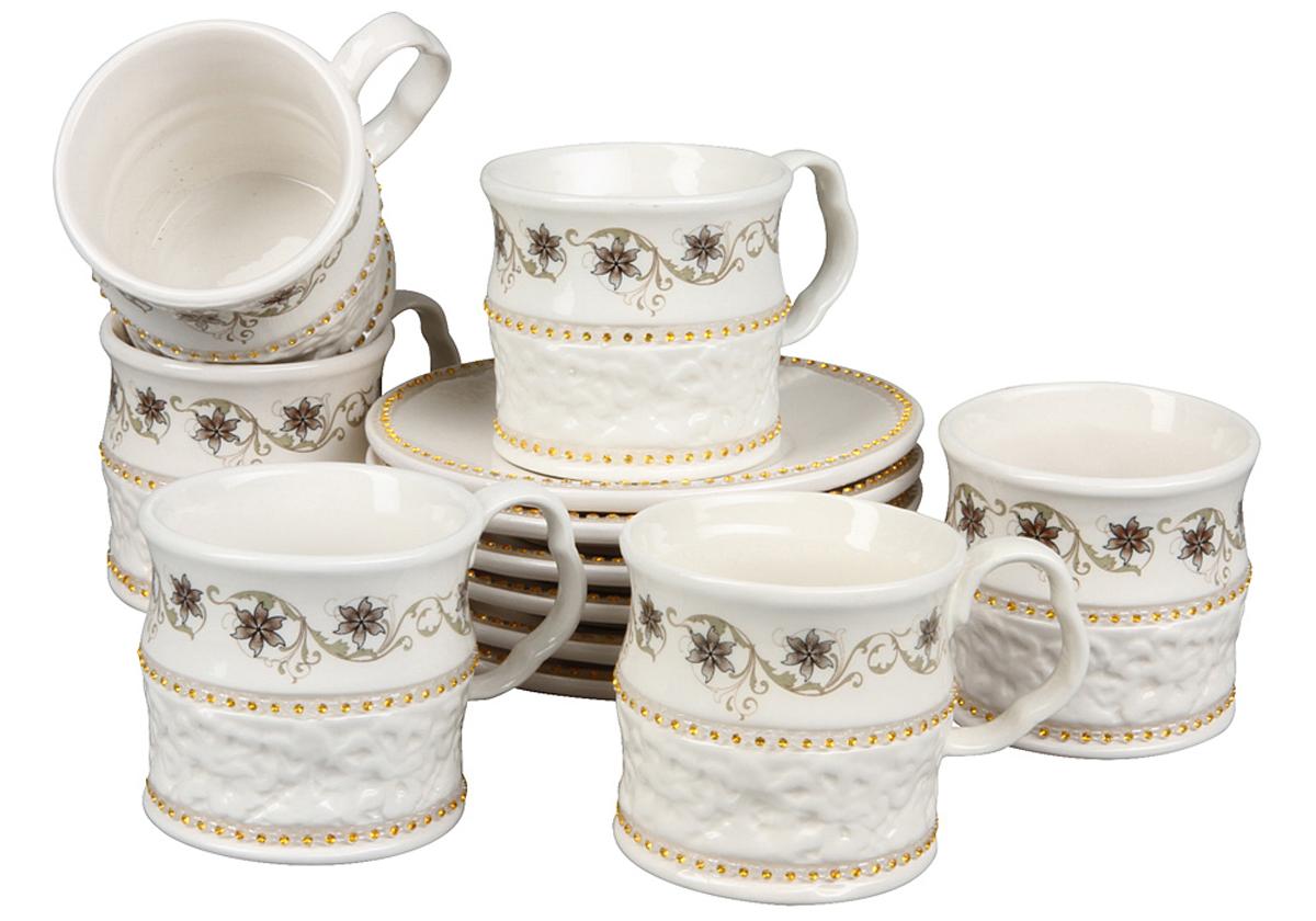 Чайный набор Rosenberg, 12 предметов. 869677.858@22863чайный набор, 12 предметов, чашка 200мл, блюдце 14 х 14 см