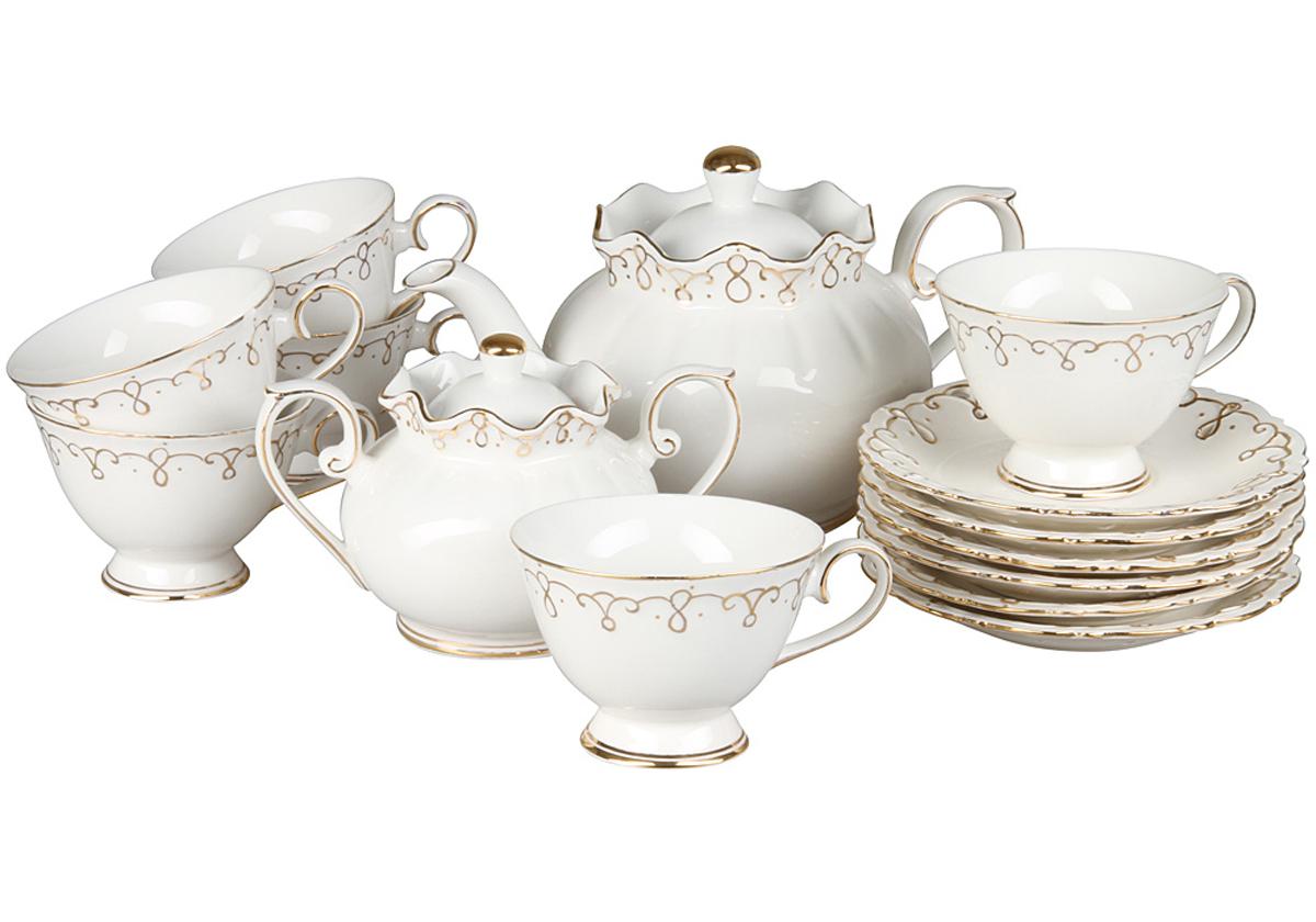 Чайный набор Rosenberg, 14 предметов, 200мл. 870177.858@22878чайный набор, 14 предметов, чашка 200мл, чайник 1200 мл, блюдце 15,5см, сахарница 400г