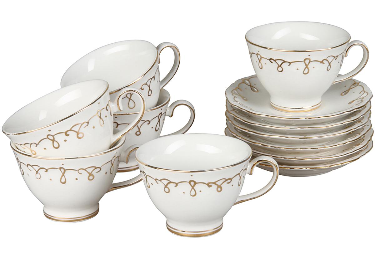 Кофейный набор Rosenberg, 12 предметов, 100мл. 870377.858@22883кофейный набор, 12 предметов, размеры: чашка 100мл, блюдце 11.7 х 11.7см