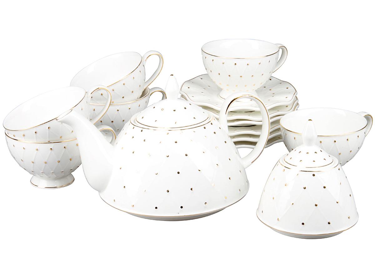 Чайный набор Rosenberg, 14 предметов, 240мл. 870577.858@22970чайный набор, 14 предметов, чашка 200мл блюдце 15.5 х 15.5 см чайник 1200мл сахарница 275г