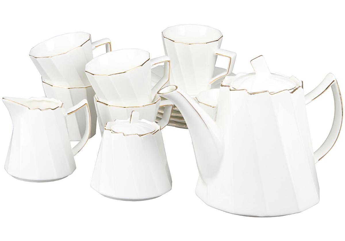 Чайный набор Rosenberg, 15 предметов, 220мл. 871777.858@22987чайный набор, 15 предметов, чашка 200мл блюдце 13.5 х 13.5 см чайник 1200мл молочник 200мл сахарница 200г