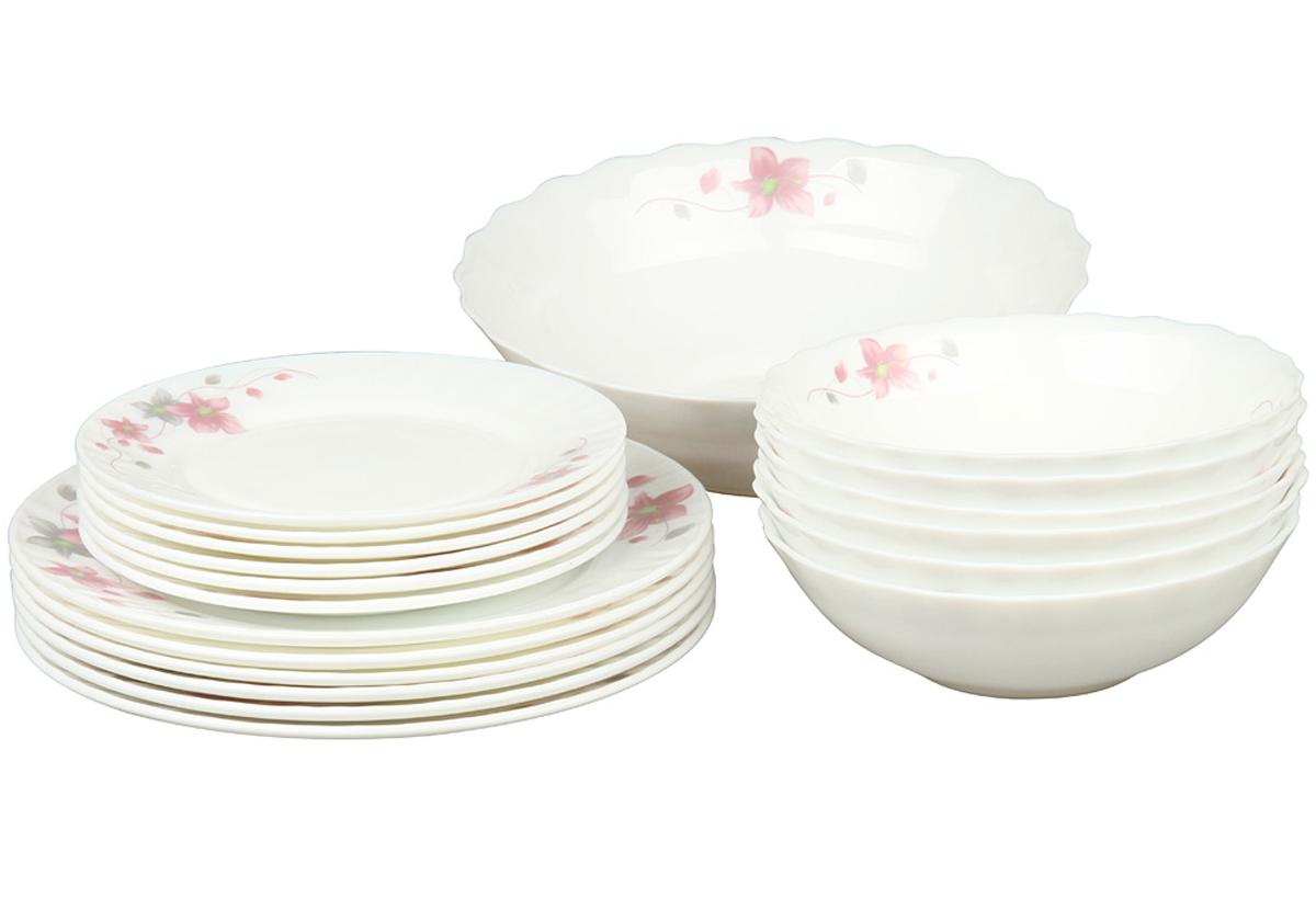 Набор столовой посуды Rosenberg 19 предметов 1260-377.858@23044набор столовой посуды 19 предметов, ударопрочное стекло, 6 шт суповых тарелок - 18см, 6 шт плоских тарелок - 23см, 6 шт плоских тарелок - 18см, 1 шт салатник - 23см .