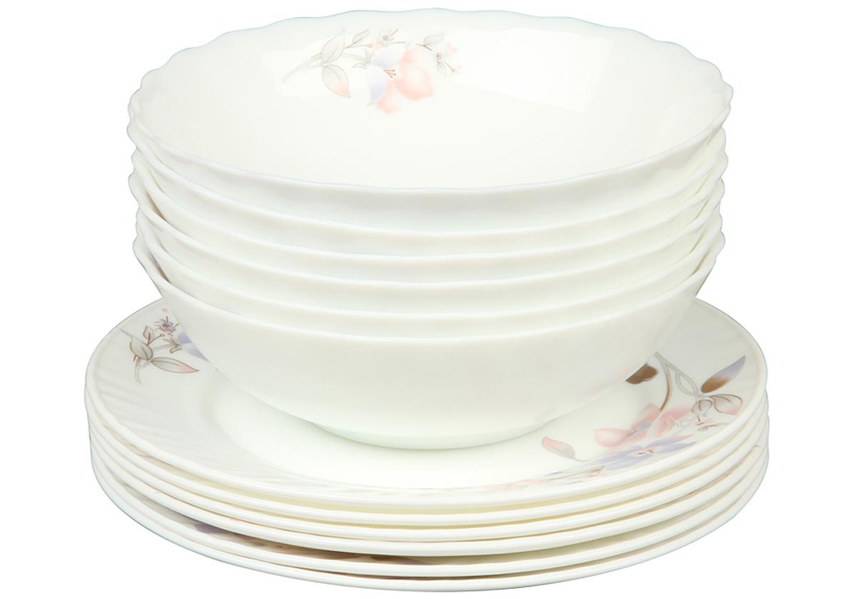 Набор столовой посуды Rosenberg 12 предметов 1261-477.858@23045набор столовой посуды 12 предметов, ударопрочное стекло, 6 шт суповых тарелок - 18см, 6 шт плоских тарелок - 20см.