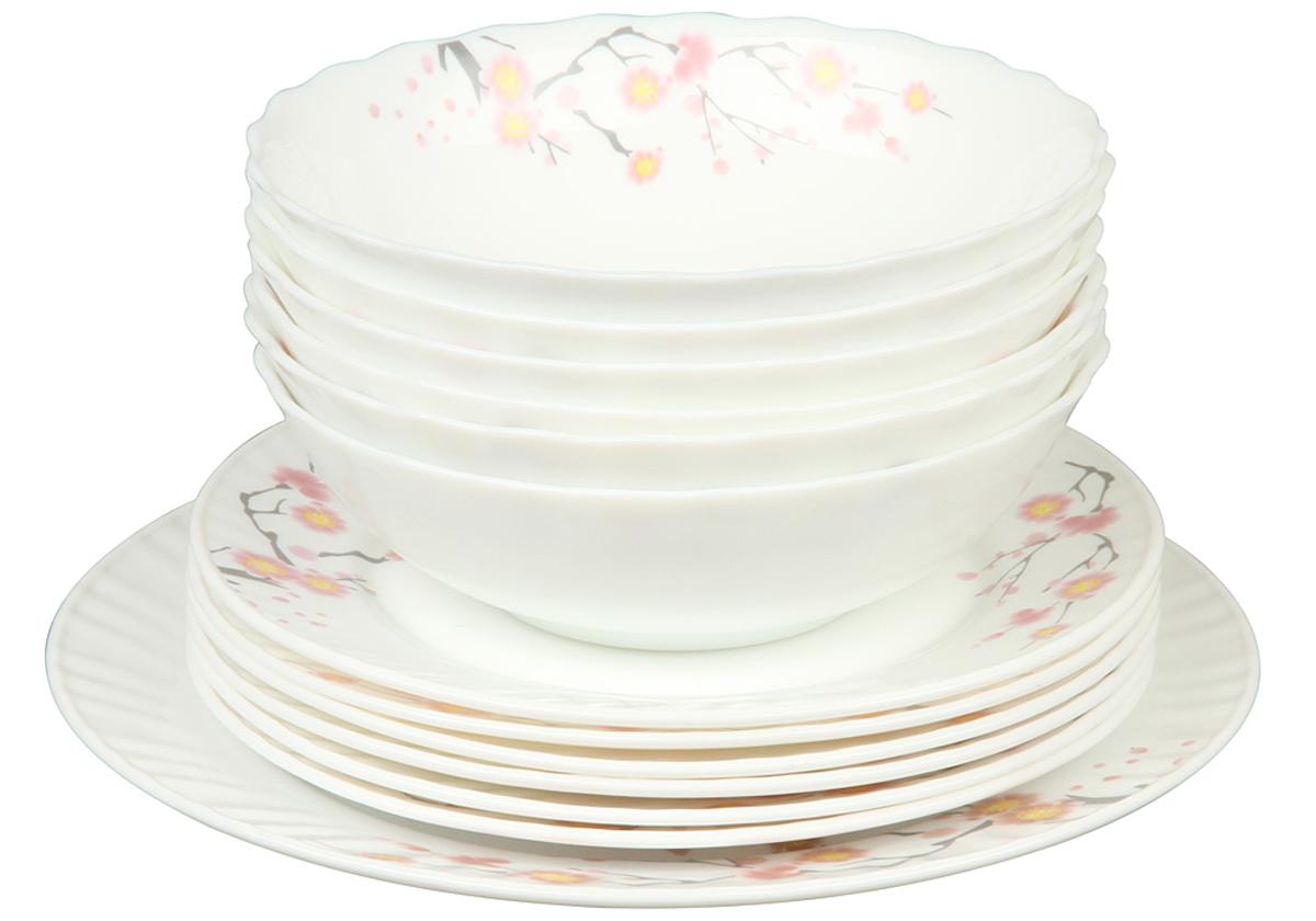 Набор столовой посуды Rosenberg 13 предметов 1262-177.858@23047набор столовой посуды 13 предметов, ударопрочное стекло, 6 шт салатников - 18см, 6 шт плоских тарелок - 20см , плоское блюдо 25см (1шт)