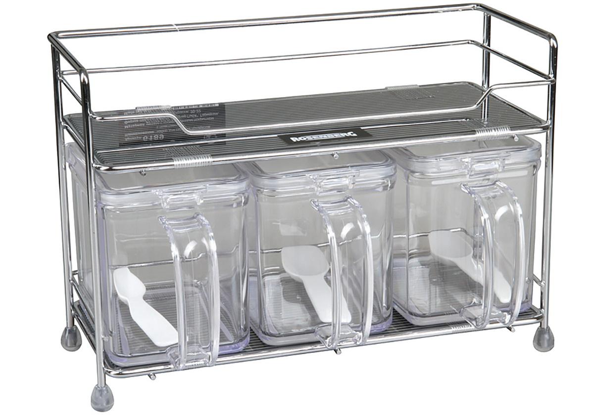 Набор для сыпучих продуктов с подставкой Rosenberg. 618977.858@23170набор для сыпучих продуктов с подставкой , объем 1-й емкости 800г