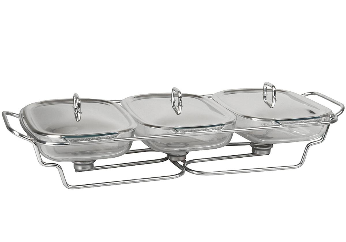 Форма для горячего Rosenberg. 442377.858@23239форма для горячего, размеры 68.7 х 30.8 х 16 см,объем 3 x 2 литра. Крышка и подставка из нержавеющей стали, жаропрочное стекло Pyrex.