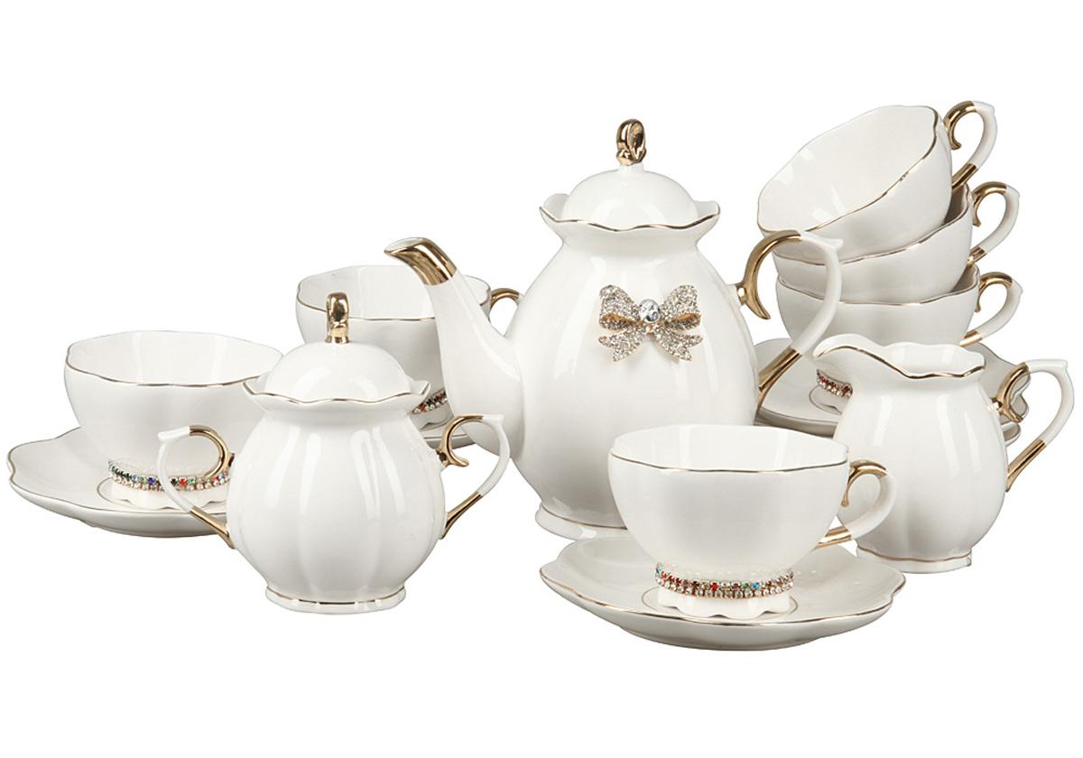 Чайный набор Rosenberg, 15 предметов. RCE-115003-1577.858@24557Чайный набор Rosenberg 15 предметов станет прекрасным укарашением Вашего стола и создаст атмосферу комфорта и уюта. В набор входит: 6 чашек (250мл) с блюдцами, чайник (1000мл), молочник (250мл), сахарница (300г).