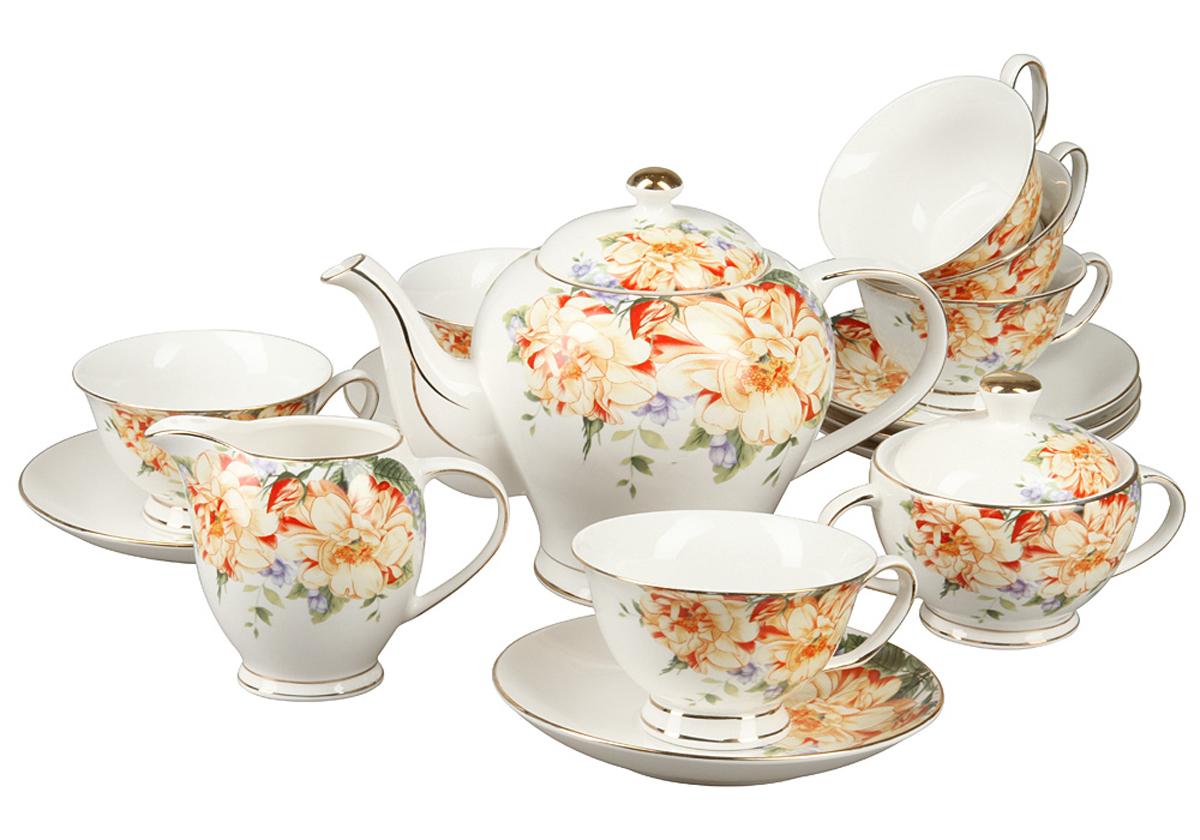 Чайный набор Rosenberg, 15 предметов. RCE-115005-1577.858@24559Чайный набор Rosenberg 15 предметов станет прекрасным укарашением Вашего стола и создаст атмосферу комфорта и уюта. В набор входит: 6 чашек (160мл)с блюдцами,чайник(800 мл), молочник (200мл), сахарница (200г).