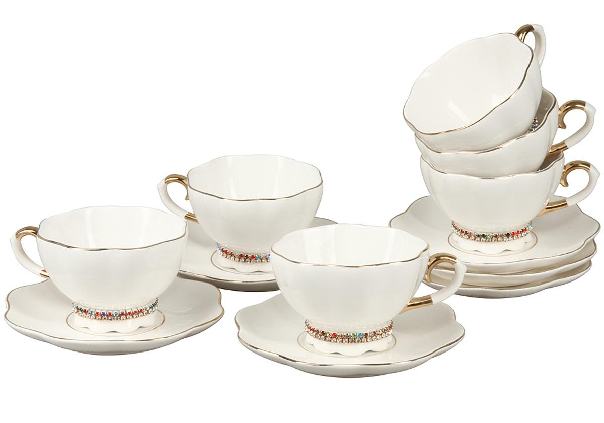 Чайный набор Rosenberg, 6 предметов. RCE-115001-677.858@24561Чайный набор Rosenberg 12 предметов станет прекрасным укарашением Вашего стола и создаст атмосферу комфорта и уюта. В набор входит: 6 чашек (200мл)с блюдцами. Отличительной особенностью набора являются браслетики со стразами на каждой чашке, которые без труда снимаются и смогут порадовать даже самую капризную принцессу.