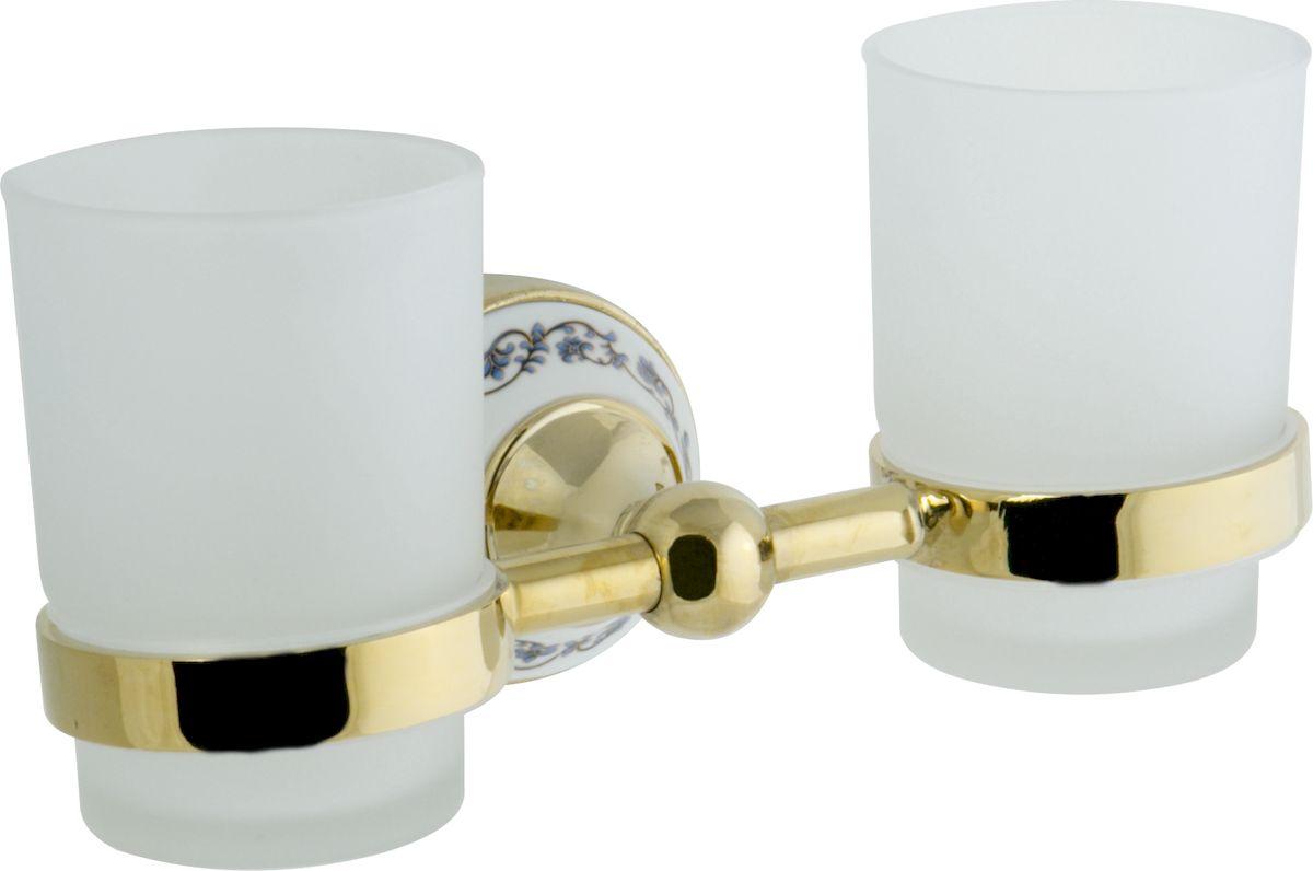 Стакан для ванной комнаты РМС, двойной, цвет: золото. А6031А6031Стеклянный стакан к стене двойной, крепление к стене, золотой цвет