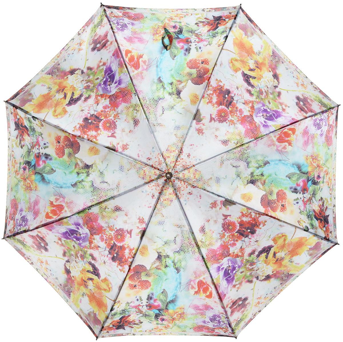Зонт-трость женский Eleganzza, полуавтомат, 3 сложения, цвет: мультиколор. T-06-0304T-06-0304Элегантный женский зонт-трость Eleganzza не оставит вас незамеченной. Изделие оформлено оригинальным принтом в виде цветов. Зонт состоит из восьми спиц и стержня, изготовленных из стали и фибергласса. Купол выполнен из качественного полиэстера и сатина, которые не пропускают воду. Зонт дополнен удобной ручкой из акрила, которая имеет форму крючка. Также зонт имеет заостренный наконечник, который устраняет попадание воды на стержень и уберегает зонт от повреждений. Изделие имеет полуавтоматический механизм сложения: купол открывается нажатием кнопки на ручке, а складывается вручную до характерного щелчка. Оригинальный и практичный аксессуар даже в ненастную погоду позволит вам оставаться женственной и привлекательной.