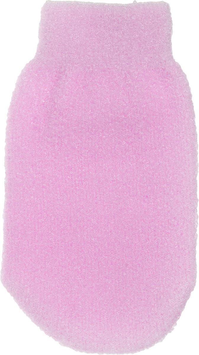 Мочалка-рукавица для тела Fun Fresh Банная, двухсторонняя, цвет: розовый