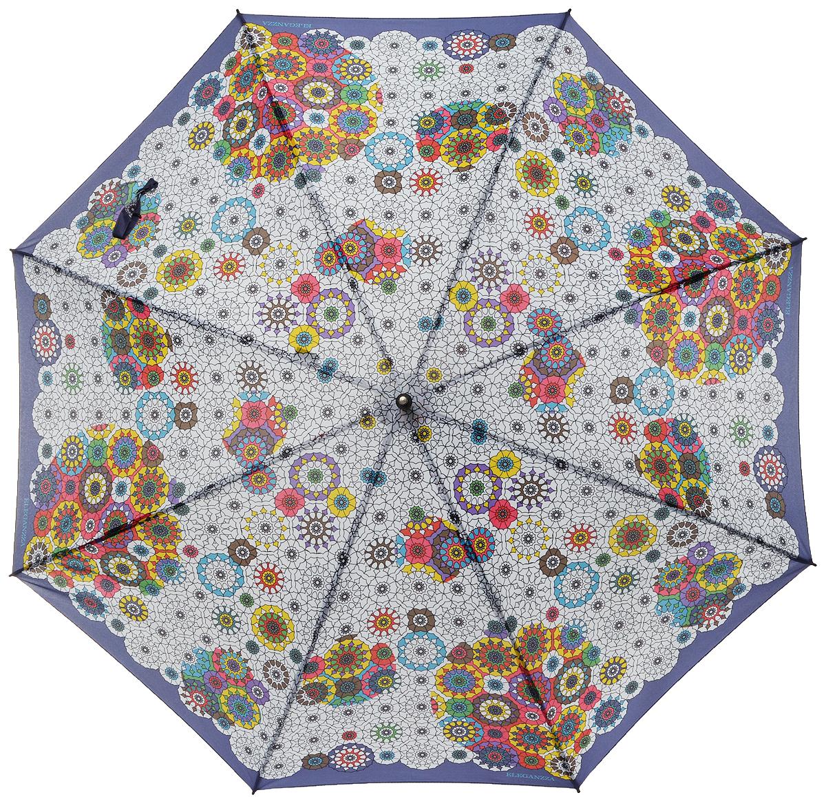 Зонт-трость женский Eleganzza, полуавтомат, 3 сложения, цвет: белый, мультиколор. T-06-0306T-06-0306Элегантный женский зонт-трость Eleganzza не оставит вас незамеченной. Изделие оформлено оригинальным принтом. Зонт состоит из восьми спиц и стержня, изготовленных из стали и фибергласса. Купол выполнен из качественного полиэстера и эпонжа, которые не пропускают воду. Зонт дополнен удобной ручкой из акрила, которая имеет форму крючка. Также зонт имеет заостренный наконечник, который устраняет попадание воды на стержень и уберегает зонт от повреждений. Изделие имеет полуавтоматический механизм сложения: купол открывается нажатием кнопки на ручке, а складывается вручную до характерного щелчка. Оригинальный и практичный аксессуар даже в ненастную погоду позволит вам оставаться женственной и привлекательной.