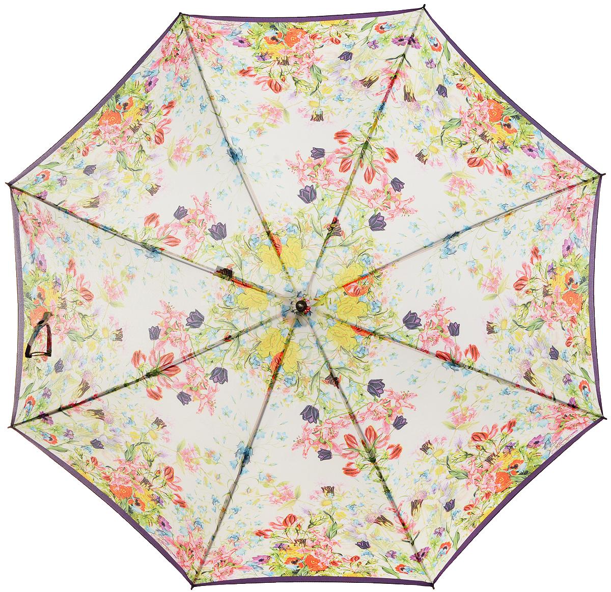 Зонт-трость женский Eleganzza, полуавтомат, 3 сложения, цвет: молочный, мультиколор. T-06-0294T-06-0294Элегантный женский зонт-трость Eleganzza не оставит вас незамеченной. Изделие оформлено оригинальным принтом в виде цветов. Зонт состоит из восьми спиц и стержня, изготовленных из стали и фибергласса. Купол выполнен из качественного полиэстера и эпонжа, которые не пропускают воду. Зонт дополнен удобной ручкой из акрила, которая имеет форму крючка. Также зонт имеет заостренный наконечник, который устраняет попадание воды на стержень и уберегает зонт от повреждений. Изделие имеет полуавтоматический механизм сложения: купол открывается нажатием кнопки на ручке, а складывается вручную до характерного щелчка. Оригинальный и практичный аксессуар даже в ненастную погоду позволит вам оставаться женственной и привлекательной.