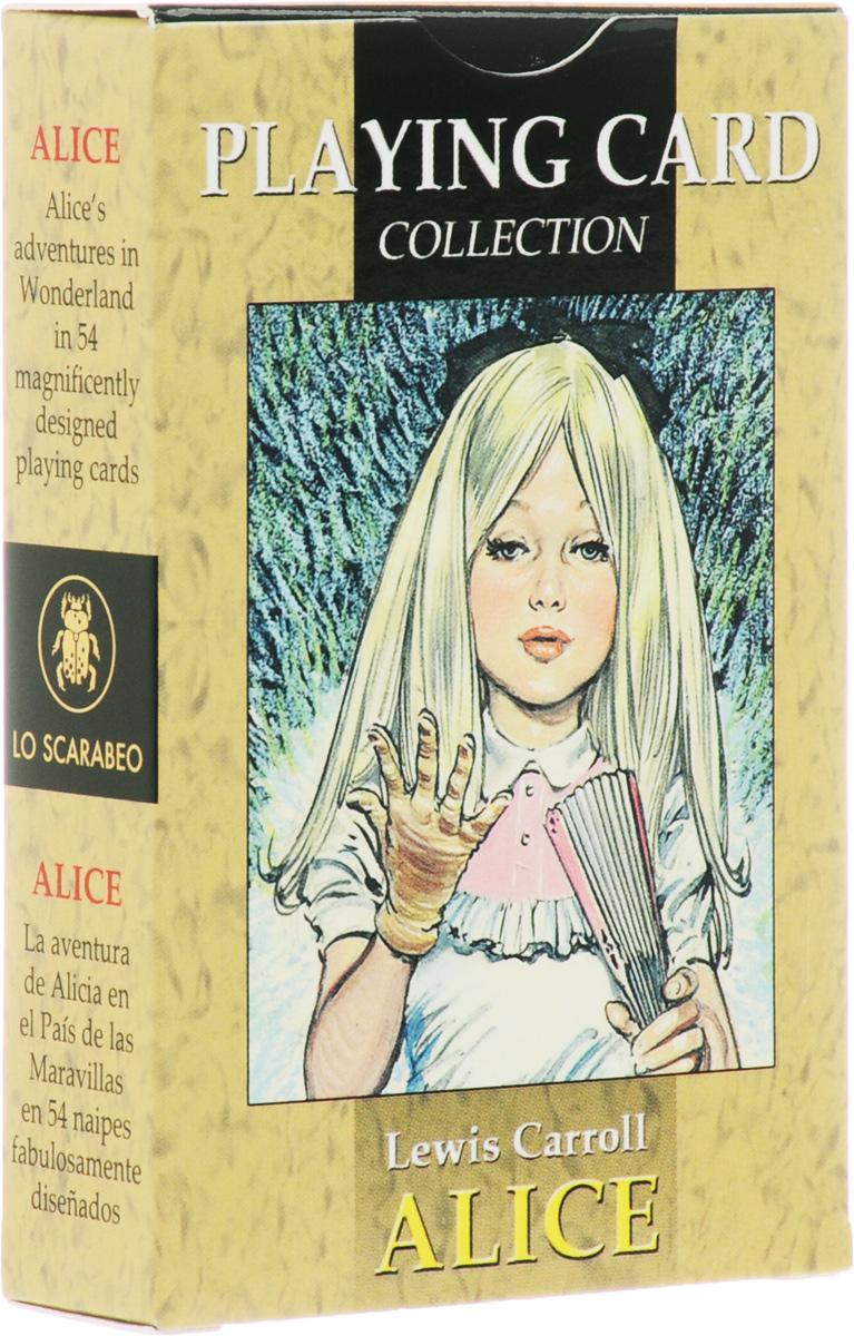 Карты игральные Lo Scarabeo Алиса в стране чудес, 54 карты. РС03РС03Чарльз Людвиг Доджсон, известный в мире как Льюис Кэрролл, - автор одной из самых популярных детских книг Алиса в стране чудес. Книга появилась в 1865 году. Иесус Бласко - художник, который нарисовал необычную колоду игральных гадальных карт Алиса в стране чудес. Вы сможете пережить сказочную историю путешествий Алисы играя, гадая или просто просматривая эту колоду карт издательства Lo Scarabeo.