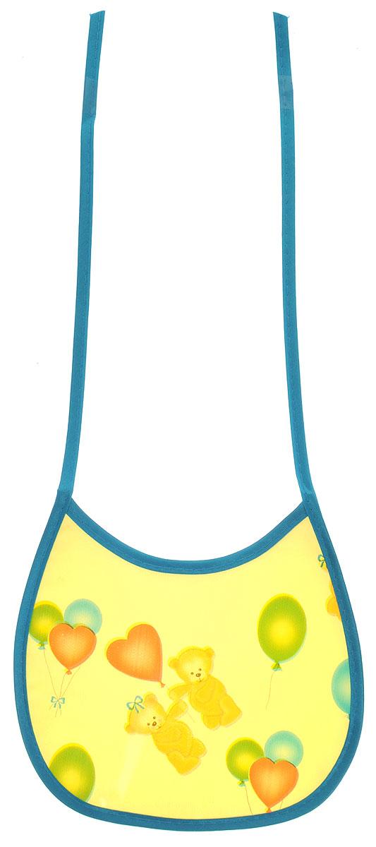 Колорит Нагрудник Мишки с шариками цвет желтый бирюзовый 17 х 17 см