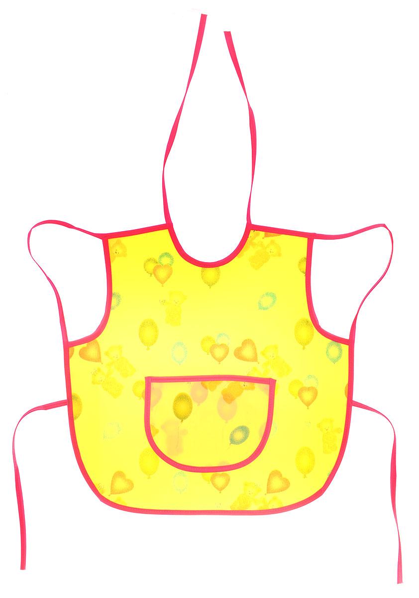 Колорит Фартук защитный Мишки с шариками цвет желтый розовый 36 х 36 см ( 0071_желтый, розовый )