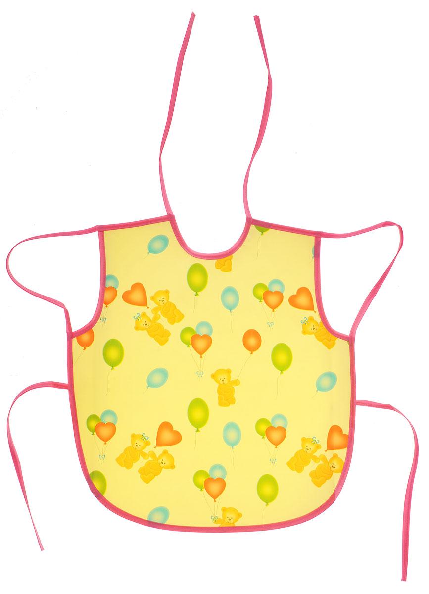 Колорит Фартук Мишки с шариками цвет желтый розовый 36 х 38 см ( 0084_желтый, розовый )