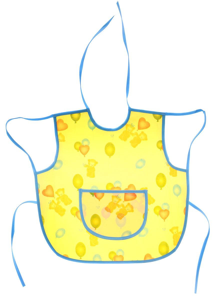 Колорит Фартук защитный Мишки с шариками цвет желтый голубой 36 х 36 см0071_желтый, голубойФартук Колорит Мишки с шариками с непромокаемым слоем защитит одежду малыша во время кормления и освободит родителей от дополнительных хлопот. Фартук на завязках - выбор практичных мамочек, так им можно пользоваться более длительное время. Пока ваш малыш растет, благодаря завязкам вы сможете легко контролировать длину изделия и регулировать размер горловины. Фартук изготовлен из клеенки подкладной с ПВХ покрытием и дополнен широким карманом. Лицевая сторона оформлена забавным изображением. Материал: клеенка, ПВХ.
