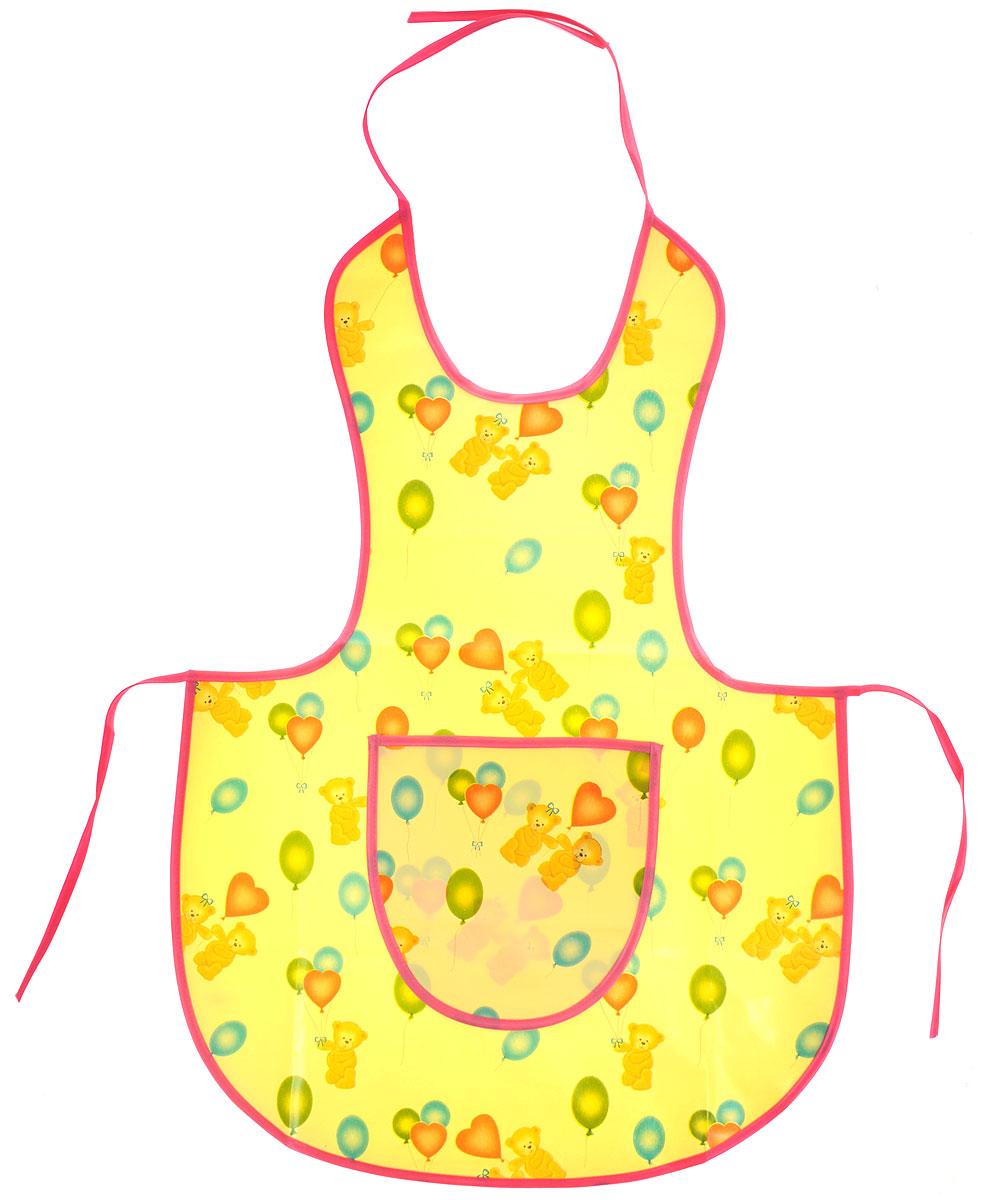 Колорит Фартук защитный для творчества цвет желтый розовый0070_желтый, розовыйЗащитный фартук для творчества Колорит предназначен для защиты одежды ребенка при рисовании красками, лепке из пластилина и других творческих занятиях на улице и дома. Фартук защитный изготовлен из клеенки подкладной с ПВХ покрытием, рекомендованной к медицинскому применению. Тканая основа фартука и тонкий слой ПВХ-покрытия снаружи обеспечивают воздухопроницаемость изделия. Шелковые завязочки для регулировки фартука по размеру не раздражают нежную кожу ребенка. Удобный, практичный и прочный фартук не промокает, легко моется и быстро сушится. Материал: клеенка, ПВХ.