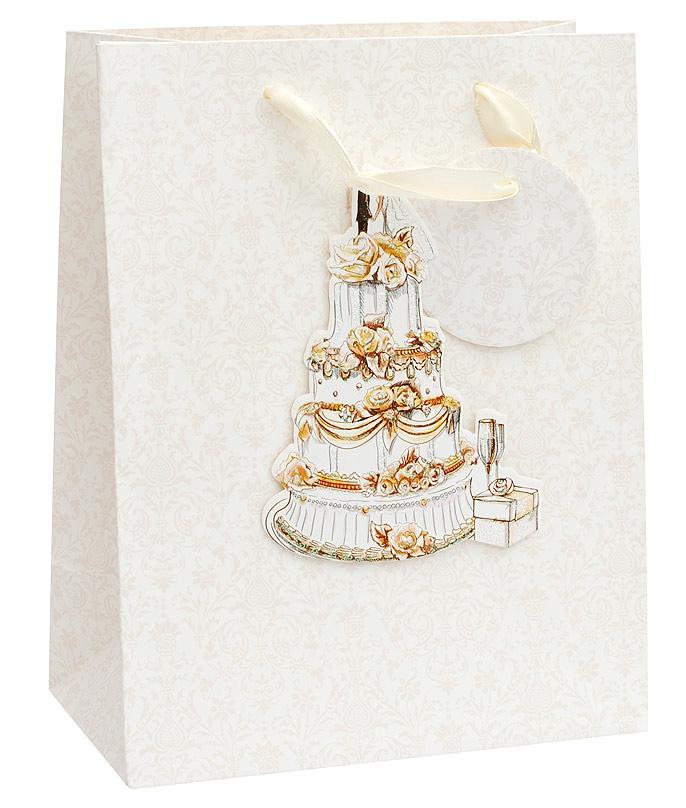 Пакет подарочный Белоснежка Свадебный торт, 18 х 23 х 10 см1350-SBПакет подарочный Свадебный торт. Торговая марка Белоснежка. Оригинальные подарочные пакеты станут прекрасным дополнением для вашего подарка. Пакеты выполнены из качественной плотной бумаги с хорошей печатью, объемные элементы на пакете придают дополнительный яркий акцент.