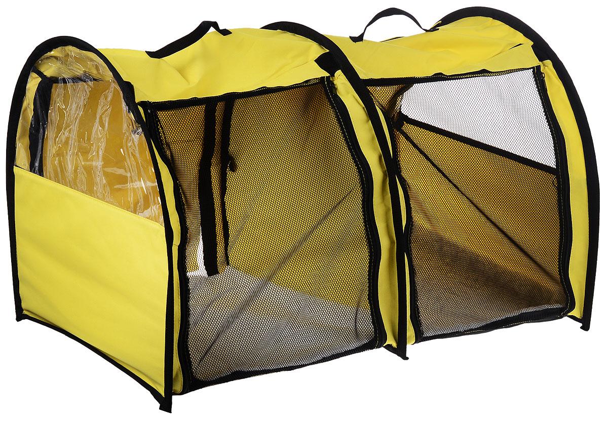 Клетка выставочная Elite Valley, двойная, цвет: желтый, черный, 103 х 60 х 60 смК-7_желтыйКлетка Elite Valley предназначена для показа кошек и собак на выставках. Она выполнена из плотного текстиля, каркас - металлический. Клетка оснащена съемными пленкой и сеткой. Внутри имеется мягкая подстилка, выполненная из искусственного меха. Прозрачную пленку можно прикрыть шторкой. Сверху расположены ручки для переноски. В комплекте сумка-чехол для удобной транспортировки.