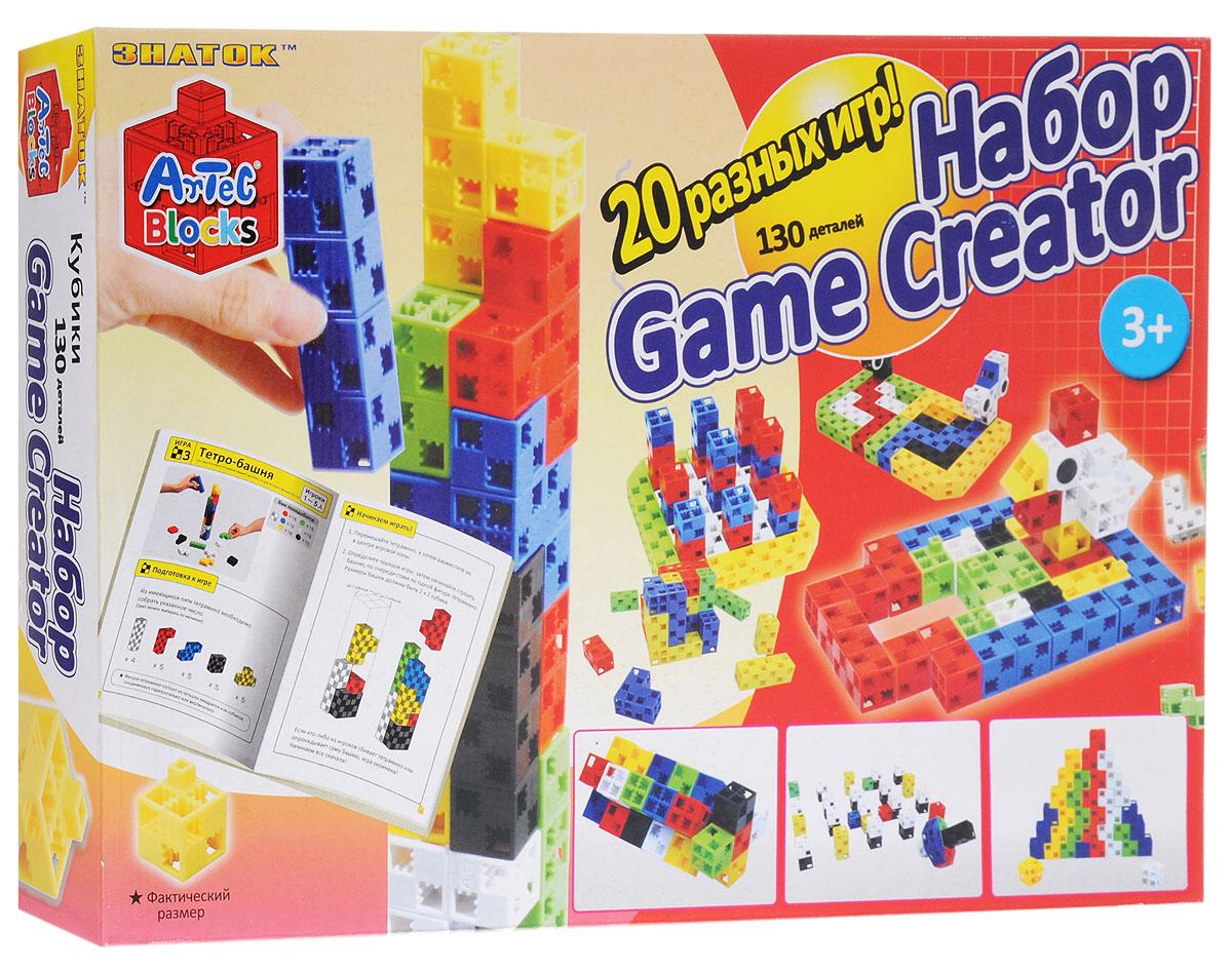 Знаток Конструктор Game Creator15-2211-ARTКонструктор из кубиков Знаток Game Creator особенно подойдет тем детям, которые любят сюжетные игры с конструктором. Кроме оригинальных кубиков в этот набор включены дополнительные детали для создания образа машинок, светофоров, животных. Методичка этого набора предлагает двадцать сюжетно- логических игр, игровым полем и материалом для которых служат элементы конструктора. В качестве примера методичка включает игры-конструирование, игры на точность и аккуратность, головоломки, примеры цветного судоку и объемных крестиков-ноликов. Для юных автолюбителей и зоологов конструктор открывает увлекательное путешествие в мир гонок и звериного сафари по трекам из кубиков. А также в конструкторе предлагается поиграть в танграм, собрать тетро-башню, пирамиды, кубические головоломки и другие игры на пространственное воображение. Конструктор Знаток Game Creator - это первые в мире кубики, которые можно соединять в любом направлении: по горизонтали, по...