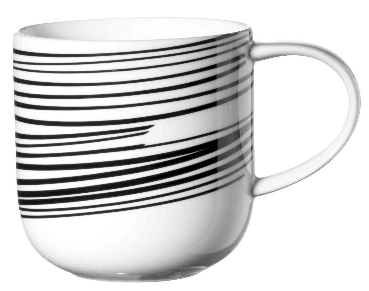 Чашка Asa Selection Coppa. Полоски, 400 мл, цвет: черный, белый. 19105/01419105/014Чашка COPPA, полоски. Объем: 0,4 литра. Материал: фарфор. Цвет: черно-белый.