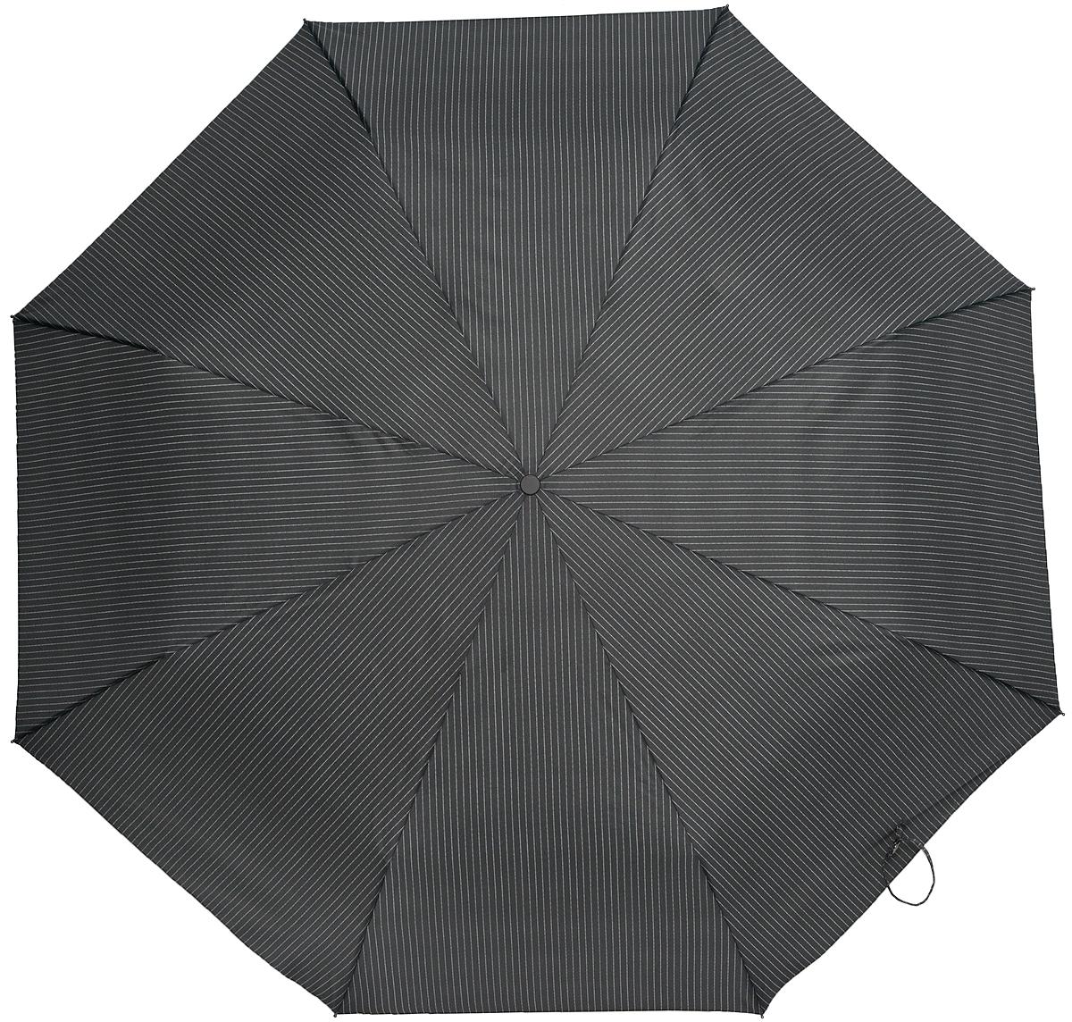 Зонт мужской Eleganzza, автомат, 3 сложения, цвет: черный. A3-05-FF687XLA3-05-FF687XLСтильный классический мужской зонт Eleganzza будет отлично смотреться с любым стилем одежды. Зонт состоит из восьми спиц и стержня, изготовленных из стали и фибергласса. Купол выполнен из качественного полиэстера и эпонжа, который не пропускает воду. Зонт дополнен удобной ручкой из пластика. Зонт имеет автоматический механизм сложения: купол открывается и закрывается нажатием кнопки на ручке, стержень складывается вручную до характерного щелчка, благодаря чему открыть и закрыть зонт можно одной рукой. Ручка дополнена петлей, благодаря которой зонт можно носить на запястье . К зонту прилагается чехол. Такой стильный и практичный аксессуар не только надежно защитит вас от дождя, но и подойдет под любой ваш образ.