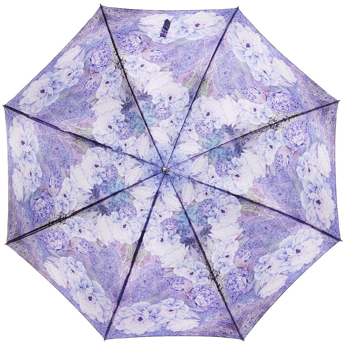 Зонт-трость женский Eleganzza, полуавтомат, 3 сложения, цвет: лиловый. T-06-0291T-06-0291Элегантный женский зонт-трость Eleganzza не оставит вас незамеченной. Изделие оформлено оригинальным принтом в виде цветов. Зонт состоит из восьми спиц и стержня, изготовленных из стали и фибергласса. Купол выполнен из качественного полиэстера и сатина, которые не пропускают воду. Зонт дополнен удобной ручкой из акрила, которая имеет форму крючка. Также зонт имеет заостренный наконечник, который устраняет попадание воды на стержень и уберегает зонт от повреждений. Изделие имеет полуавтоматический механизм сложения: купол открывается нажатием кнопки на ручке, а складывается вручную до характерного щелчка. Оригинальный и практичный аксессуар даже в ненастную погоду позволит вам оставаться женственной и привлекательной.