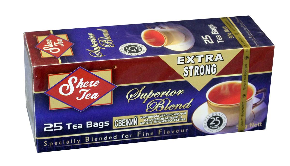 Shere Tea Superior Blend чай черный в пакетиках, 25 шт4791014000020Черный мелколистовой ломаный чай в пакетиках Shere Tea Superior Blend. Чай быстро заваривается, имеет яркий, прозрачный настой с интенсивной окраской. Вкус терпкий с приятной горчинкой и хорошо выраженным ароматом. Двойные пакетики можно делить пополам, так как это позволяет регулировать крепость чая.