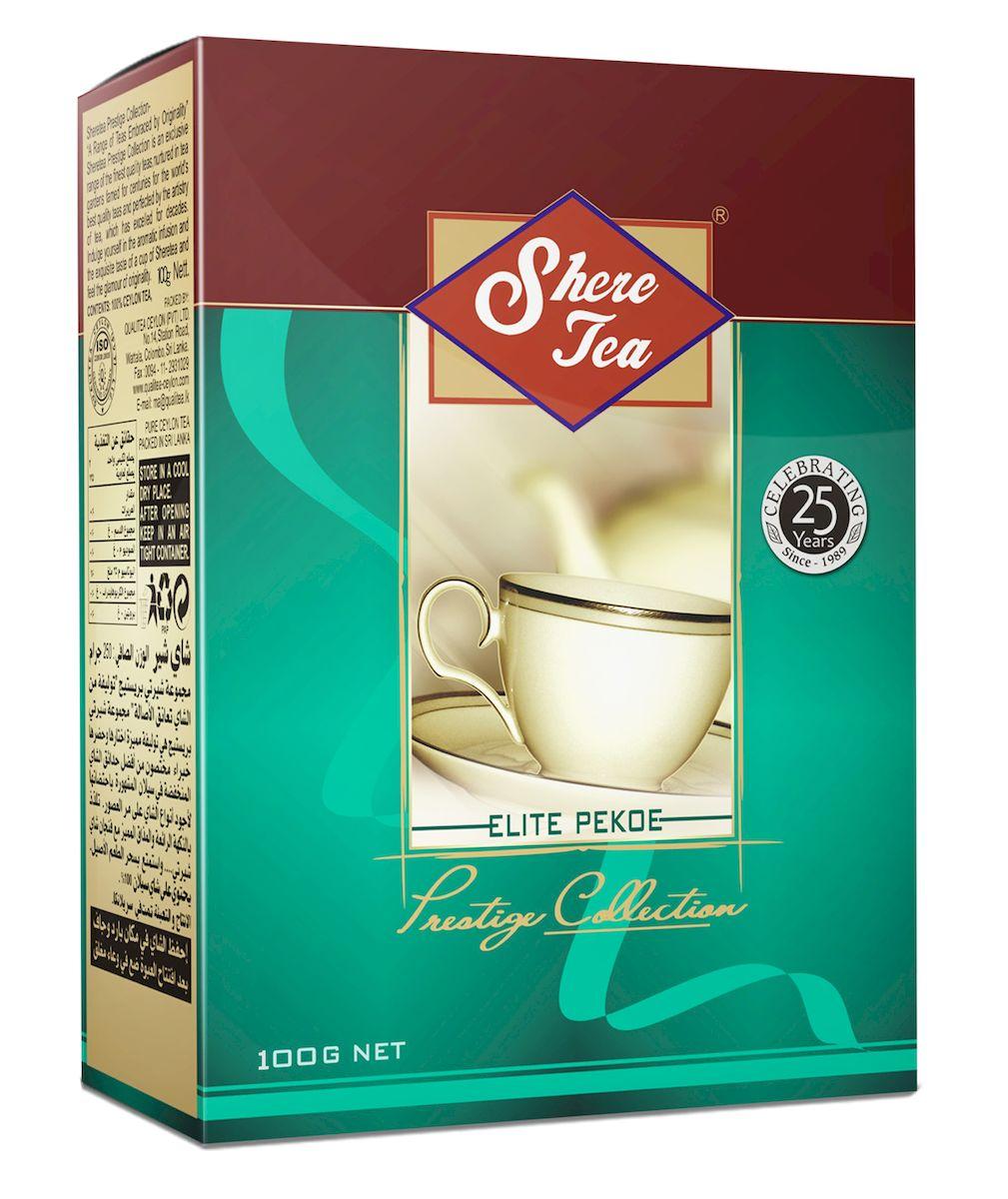 Shere Tea Престижная коллекция. PEKOE чай черный листовой, 100 г4791014000310Shere Tea Prestige Collection - это эксклюзивные сорта лучшего 100% цейлонского чая, выращенного в гористой местности на золотых плантациях, знаменитых более столетия. Вы получите наслаждение от аромата и особенного вкуса в каждой чашке чая Шери и прикоснетесь к очарованию его новизны. Чай Шери Престижная коллекция изготовлен из крупного листа стандарта РЕКОЕ. Этот чай состоит из более коротких и более взрослых, чем OP листьев. В сбор идут, как правило, вторые от почки листья. Поэтому в этом чае меньше содержание кофеина, чем в ОР, но зато он имеет более выраженную горчинку во вкусе, что нравится многим любителям чая. Чем более взрослый лист, тем в нем больше танина и дубильных веществ, которые и дают эту самую горчинку. Чай имеет яркий, прозрачный, интенсивный, настой. Аромат чая полный, приятный, выражен достаточно ярко.