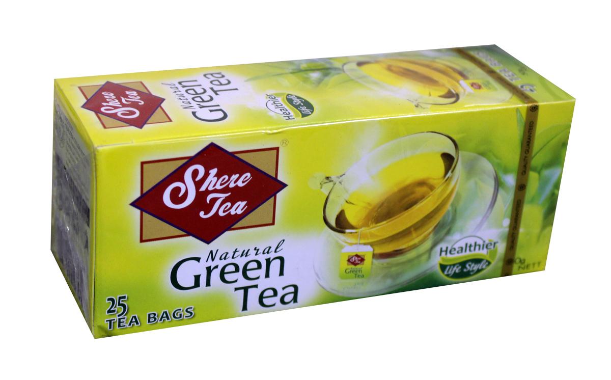Shere Tea чай зеленый в пакетиках, 25 шт4791014008514Чай зеленый в пакетиках Shere Tea имеет яркий Настой с интенсивной окраской. Быстро заваривается. Чай имеет особый мягкий сладковатый вкус и аромат настоящего зеленого чая, оказывает благотворное влияние на организм. В упаковке 25 пакетиков для разовой заварки по 2 грамма.