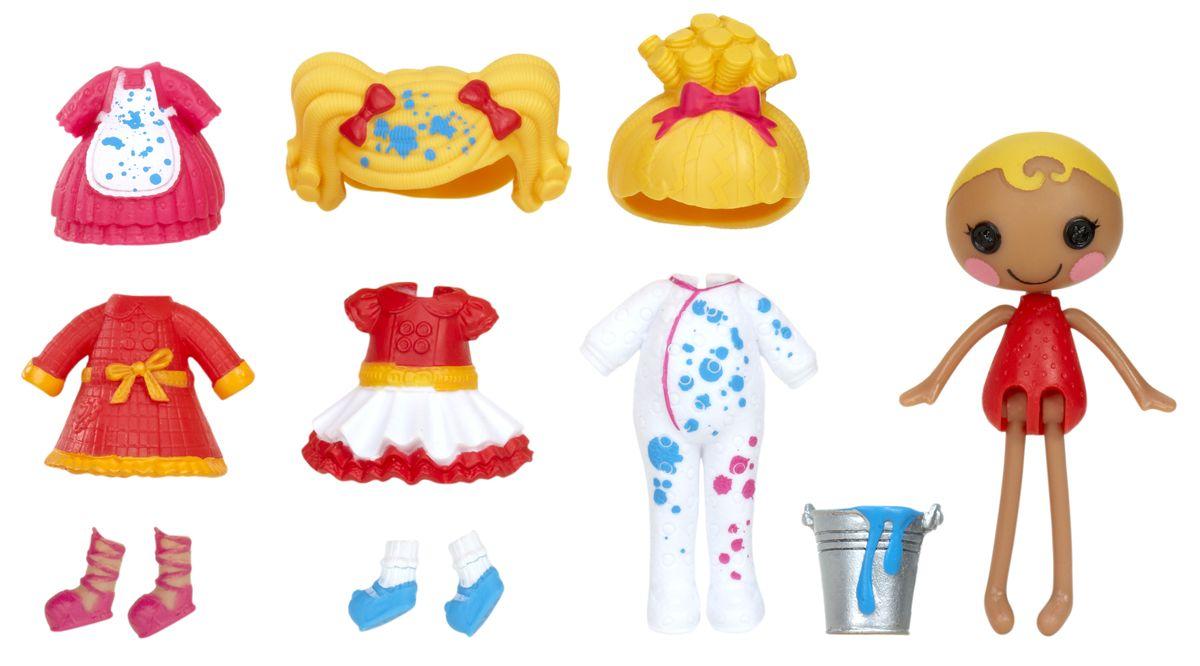 Lalaloopsy Мини-кукла с аксессуарами Spot Splatter Splash539636_Spot Splatter SplashНовые персонажи Mini Lalaloopsy Принцессы - в наборе со множеством аксессуаров для трансформации: 2 прически, 2 пары обуви и жезл. Меняйте элементы внешнего вида (впервые можно изменять волосы) и получайте до 4-х новых образов! Одежда меняет цвет в холодной воде! Коробка в виде домика с удобной ручкой.