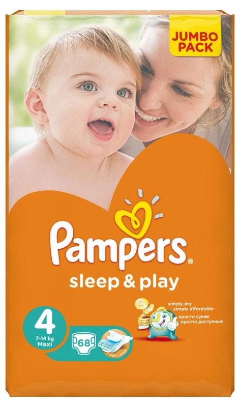 Pampers Подгузники Sleep & Play 8-14 кг (размер 4) 68 штPA-81448305Теперь вы можете гулять в парке дольше! Усовершенствованные подгузники Pampers Sleep & Play теперь еще лучше впитывают и при этом меньше увеличиваются в объеме. Быстро впитывающий слой обеспечивает надежную сухость вашему малышу. Это отличный и экономичный способ сохранить кожу ребенка сухой и продлить радостные моменты. - Специальный внутренний слой подгузника быстро впитывает влагу, оставляя кожу малыша сухой. - Тянущиеся боковинки. - Специальные манжеты помогают предотвратить протекание. - Регулируемые застежки-липучки. - Интересный дизайн.