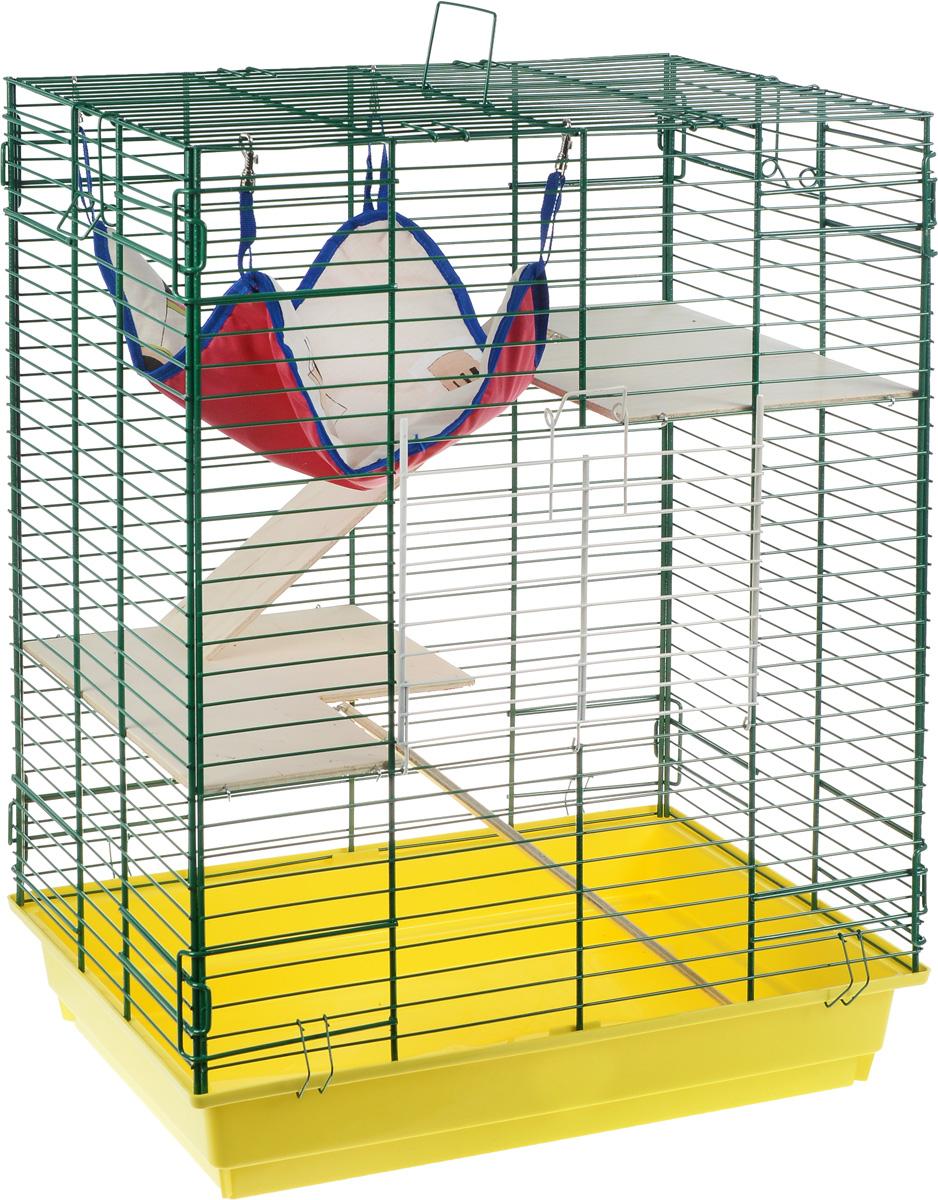Клетка для шиншилл и хорьков ЗооМарк, цвет: желтый поддон, зеленая решетка, бежевые этажи, 59 х 41 х 79 см. 725дк725дк_желтый, зеленыйКлетка ЗооМарк, выполненная из полипропилена и металла, подходит для шиншилл и хорьков. Большая клетка оборудована длинными лестницами и гамаком. Изделие имеет яркий поддон, удобно в использовании и легко чистится. Сверху имеется ручка для переноски. Такая клетка станет уединенным личным пространством и уютным домиком для грызуна. Уважаемые клиенты! Обращаем ваше внимание на допустимые незначительные изменения в дизайне товара, некоторые детали могут отличаться по цвету от товара, изображенного на фотографии.