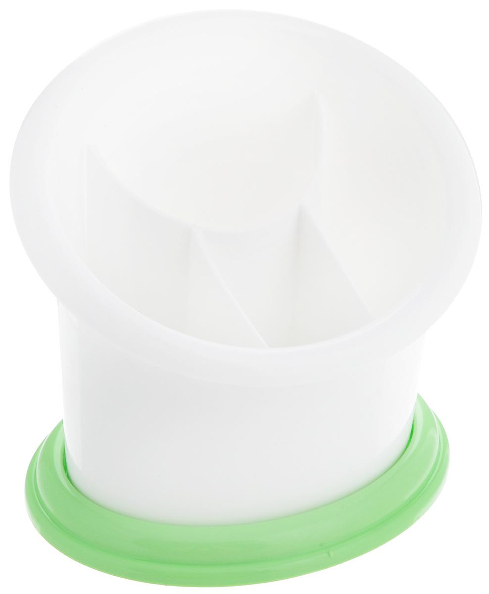 Подставка для столовых приборов Альтернатива Стиль, цвет: белый, салатовыйМ550_белый, салатовыйПодставка для столовых приборов Альтернатива Стиль изготовлена из пластика высокого качества. Изделие представляет собой поддон и емкость с 4 секциями. Дно секций перфорированное, что обеспечивает сток жидкости с мокрых столовых приборов. Такая подставка идеально впишется в интерьер любой кухни и прекрасно подойдет для сервировки стола.