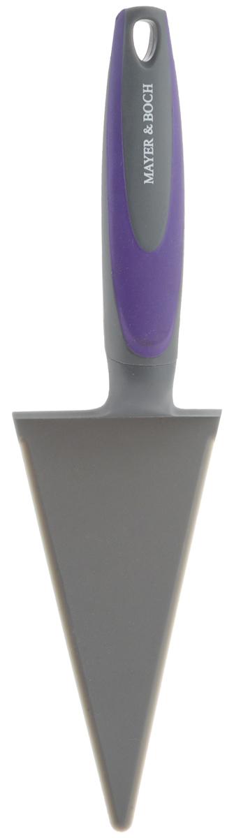 Лопатка для пиццы Mayer & Boch, цвет: серый, фиолетовый, длина 30 см23143_серый, фиолетовыйЛопатка для пиццы Mayer & Boch треугольной формы отлично подходит для раскладывания кусочков пиццы, пирога или торта. Рабочая часть лопатки выполнена из высококачественного полипропилена, ручка изготовлена из прочного пластика с нейлоновыми вставками. На рукоятке имеется петелька для подвешивания. Лопатка Mayer & Boch станет отличным дополнением к коллекции ваших кухонных аксессуаров. Длина лопатки: 30 см. Размер рабочей поверхности: 15,5 х 7,5 см.