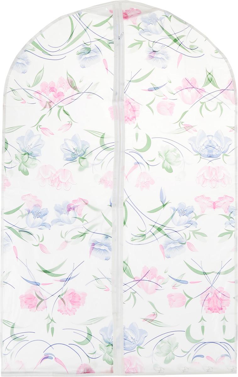Чехол для одежды Eva Цветы, цвет: белый, розовый, синий, 60 х 92 смЕ-16201_розовые, синие цветыЧехол для одежды Eva Цветы выполнен из материала PEVA. Чехол обеспечивает вашей одежде надежную защиту от влажности, повреждений и грязи при транспортировке, от запыления при хранении. Изделие обладает водоотталкивающими свойствами, а также позволяет воздуху свободно поступать внутрь вещей, обеспечивая их кондиционирование. Закрывается на молнию. Можно стирать при температуре до 40°C.