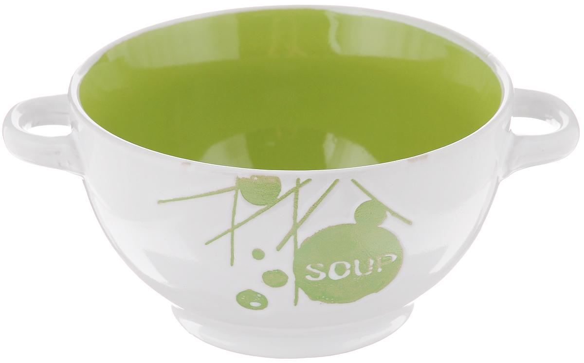Салатник Wing Star, с ручками, цвет: белый, зеленый, 500 млLJ10-D112B_белый, зеленыйСалатник с ручками Wing Star покорит вас своей красотой и качеством исполнения. Изделие выполнено из высококачественной керамики. Такой салатник прекрасно подходит для холодных и горячих блюд: каш, хлопьев, супов, салатов. Он дополнит коллекцию вашей кухонной посуды и будет служить долгие годы. Можно использовать в посудомоечной машине и микроволновой печи. Диаметр салатника (по верхнему краю): 13,5 см. Ширина салатника (с учетом ручек): 17,5 см. Высота стенки салатника: 8 см.