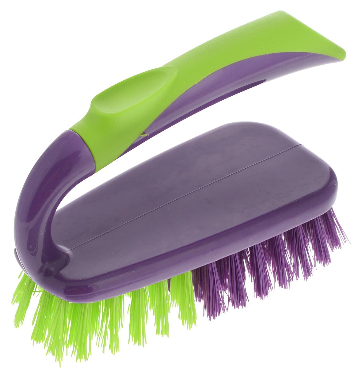 Щетка-утюжок York Prestige, цвет: фиолетовый, салатовый4004/040040_фиолетовый, салатовыйЩетка-утюжок York Prestige станет незаменимым помощником для удаления грязи на небольших поверхностях. Щетка выполнена из пластика и снабжена рукояткой эргономичной формы. Щетина двух видов (мягкая и жесткая) позволит очищать любые загрязнения. Может использоваться для чистки одежды, ковров, мебели. Высота щетины: 2,5 см. Размер рабочей поверхности: 14 х 7 см.